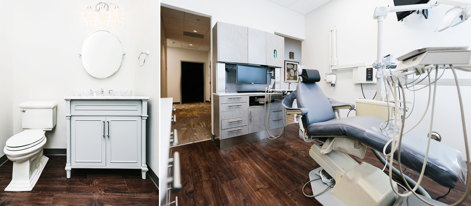 Cornerstone Dental Care bathroom facilities and treatment room