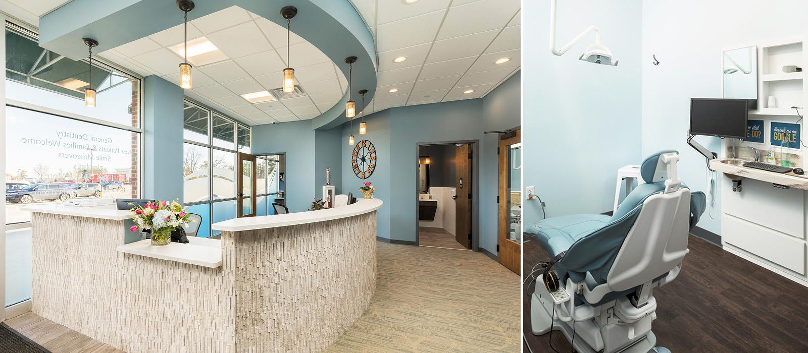 Dental Design of New England reception desk and treatment room