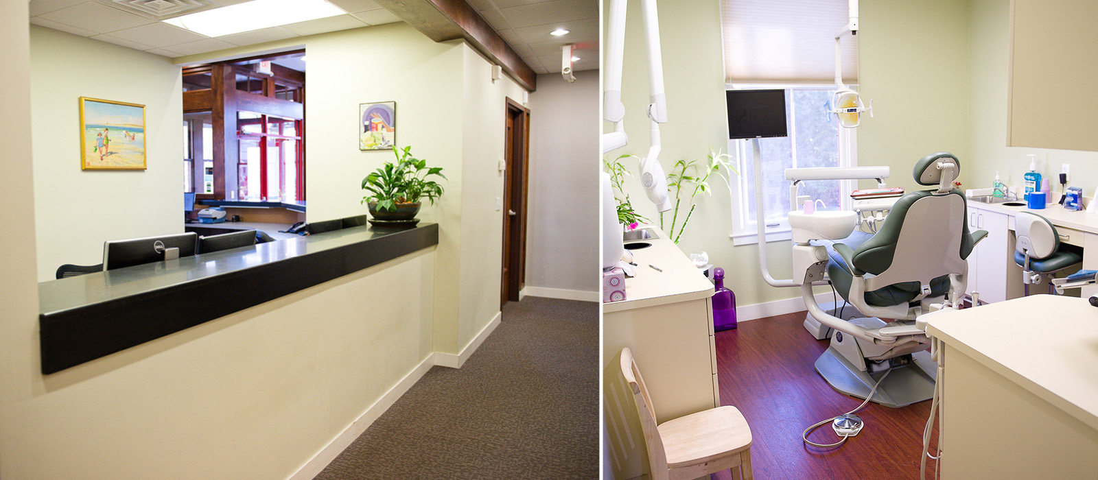 Paquette Family Dental front desk and treatment room