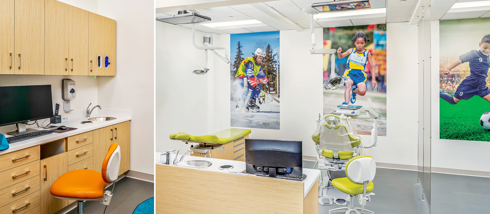 Sprout Dental sports-themed treatment area