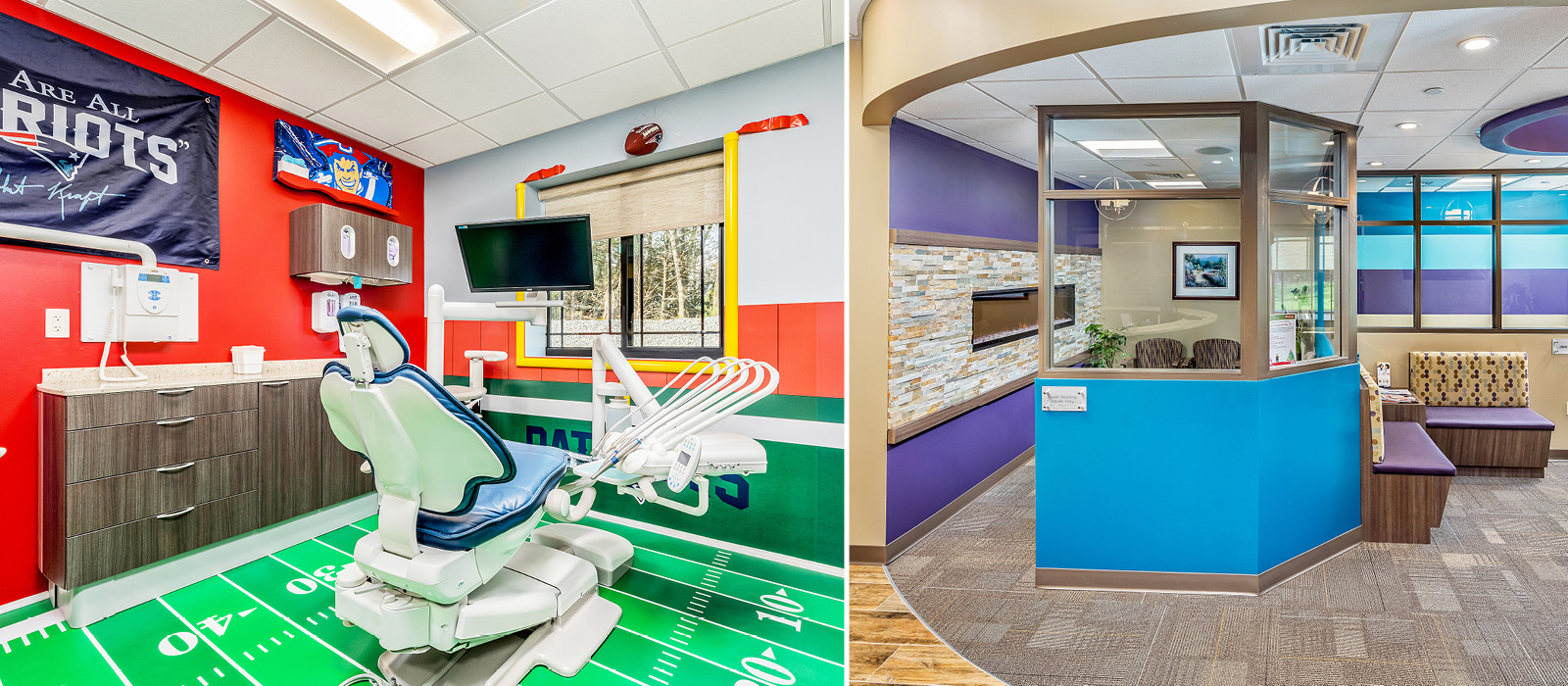 Theroux Dental football-themed treatment area