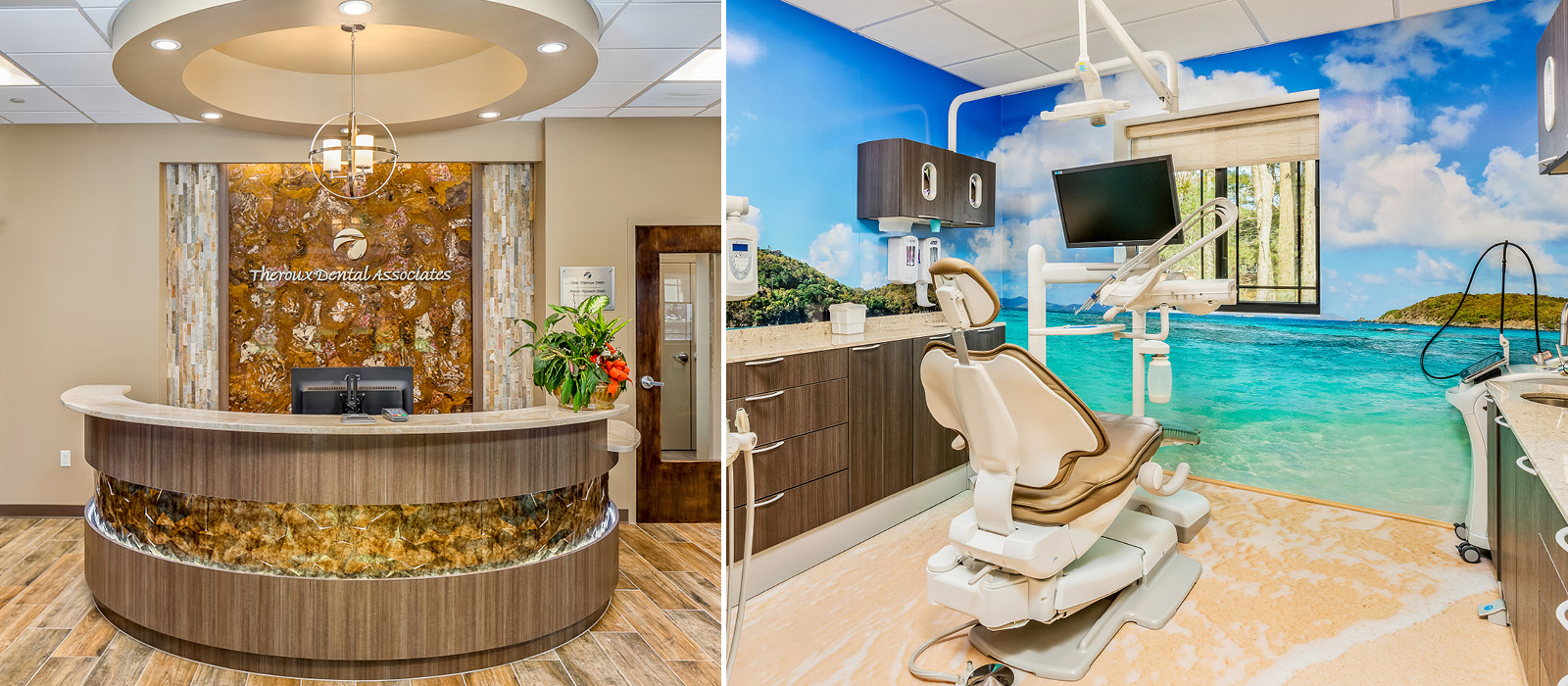 Theroux Dental beach-themed treatment area
