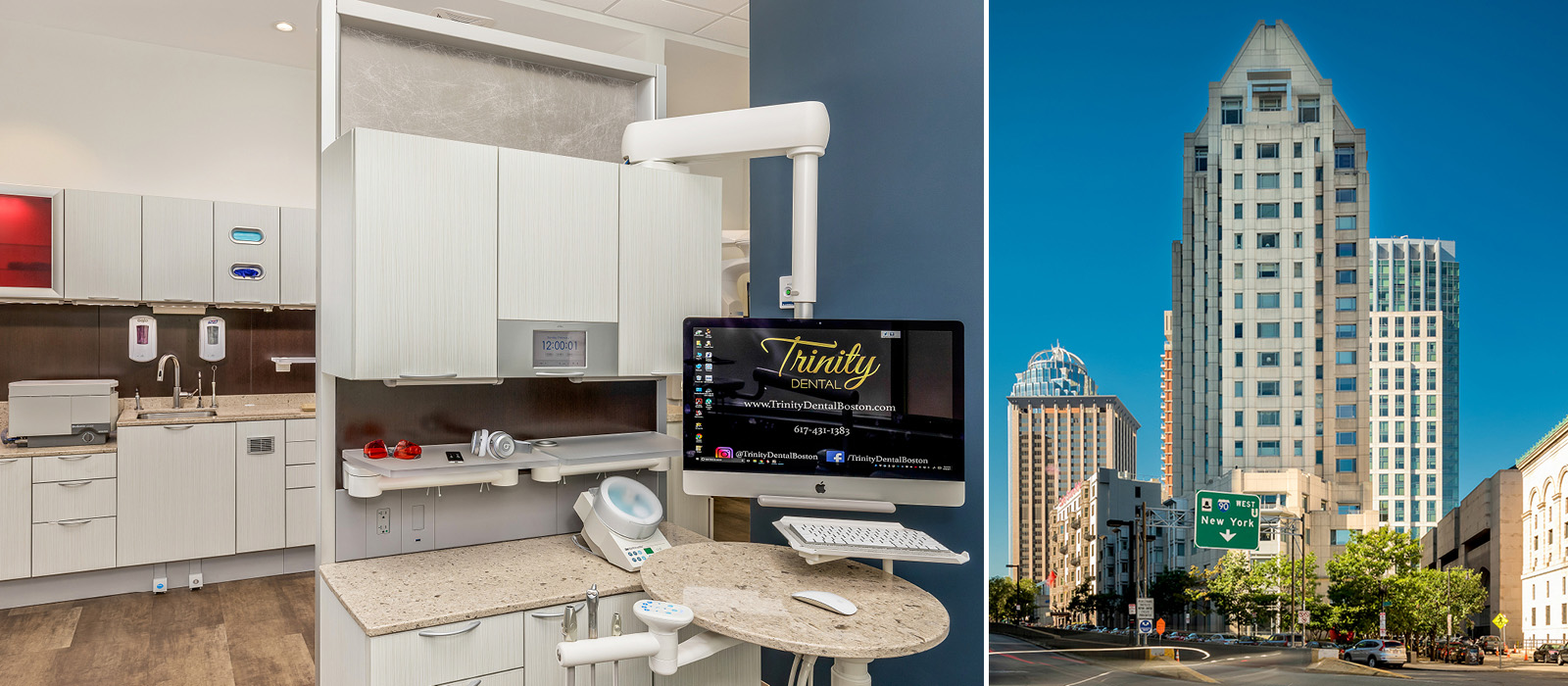 Trinity Dental treatment area and exterior view of office